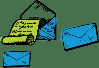 Dessins de lettres et enveloppes